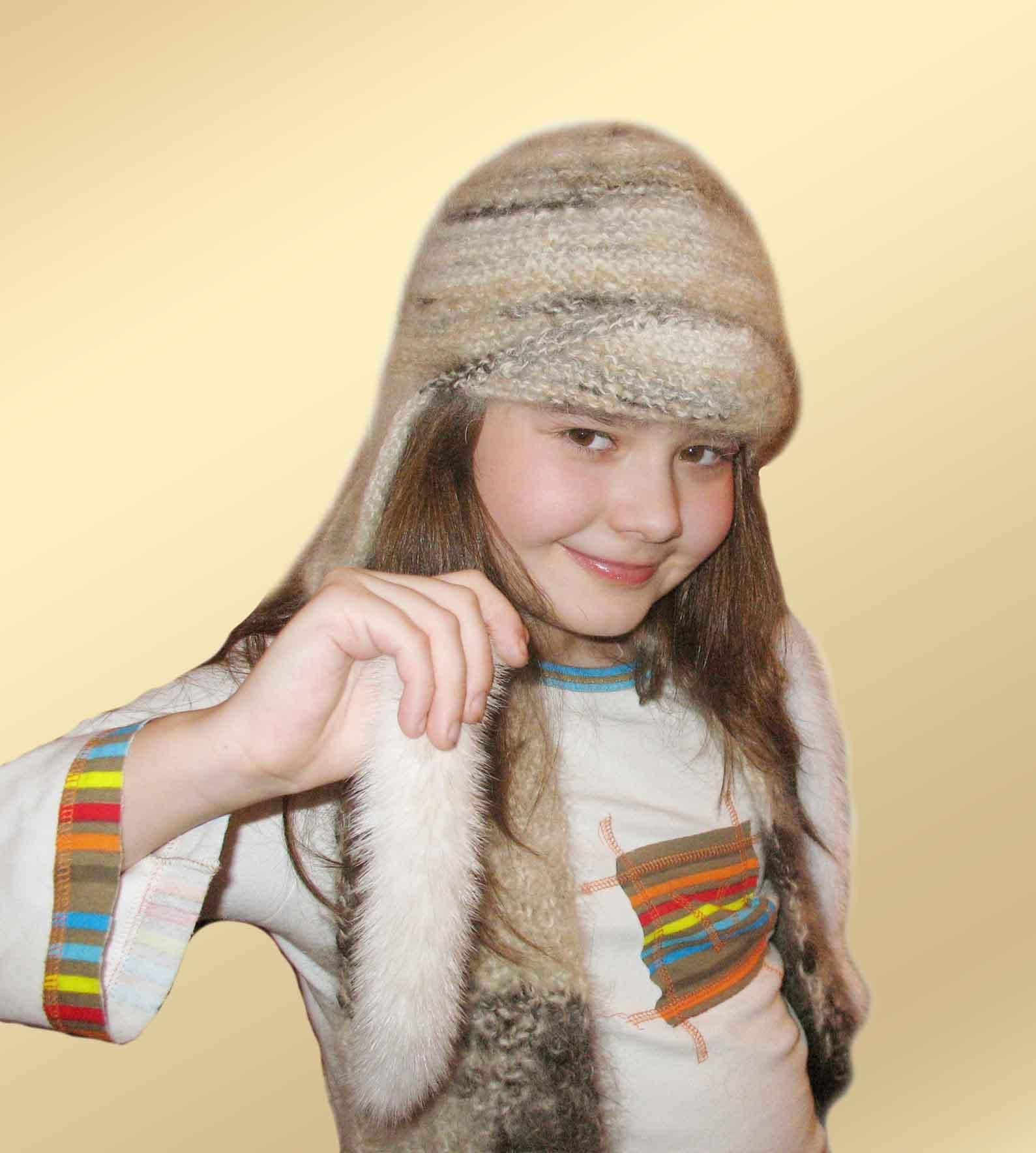 Детская шапочка из собачьей шерсти